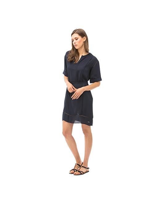 Nautica V Yaka Şifon Elbise Lacivert